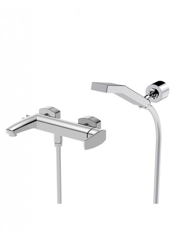 Studio Single lever bath mixer with adjustable wall bracket