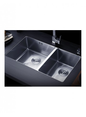 Acolia Handmade Double Bowl Kitchen Sink with Overflow Hole & without Faucet Hole
